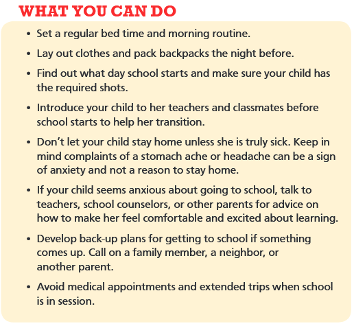 What parents can do to help with good attendance- English